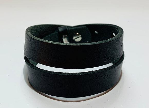 Black Double Leather Cuff Bracelet 15mm Adjustable