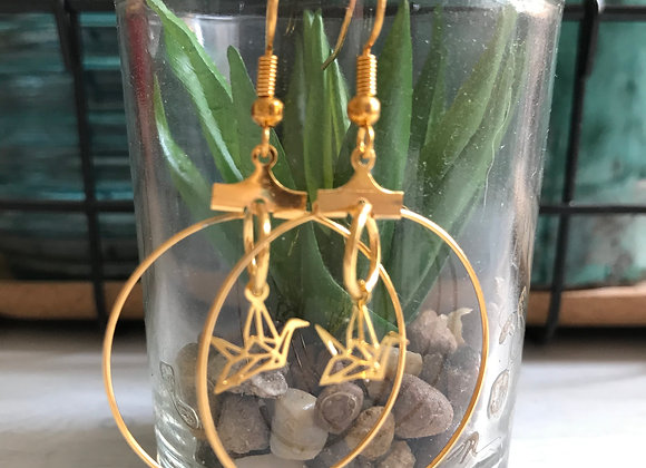 Gold Hoops with Flying Gold Crane Bird Charms
