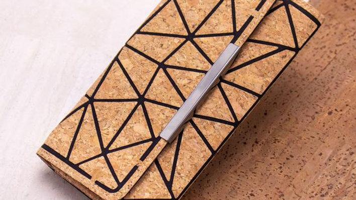 Geometric Patterned Cork Purse