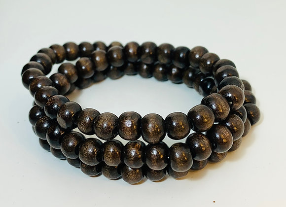Natural Dark Brown Wood Stretch Triple Bracelet and Necklace
