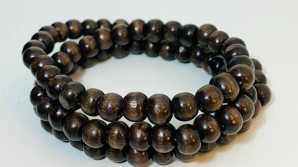 Dark Brown Wood Stretch Triple Bracelet/Necklace