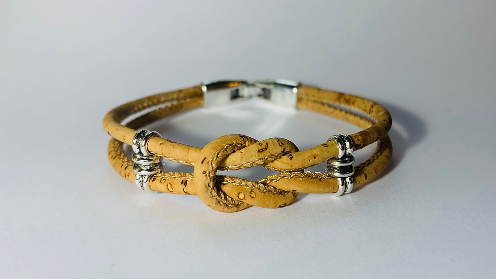 Natural Double Cork Bracelet with Infinity Knot and Silver Sliders