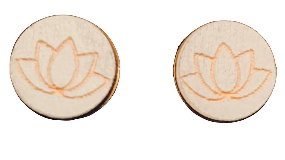 Wood Lotus Pattern Grey Stud Earrings