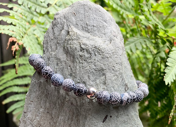 Grey Marbled Agate Stone Stretch Bracelet with Silver Decorative Bead