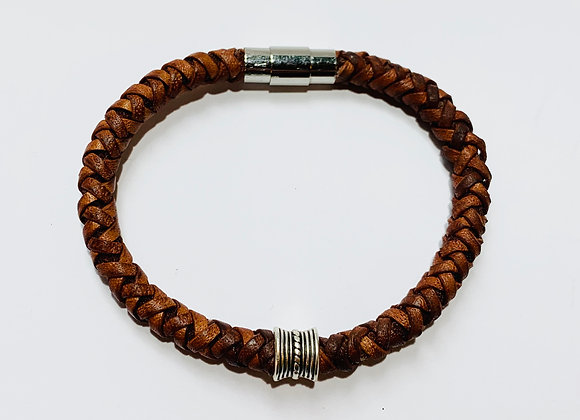 Vintage Cognac Brown Braided Leather Bracelet with Slider +Stainless Steel Clasp