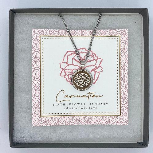 Silver Birth Flower Necklaces