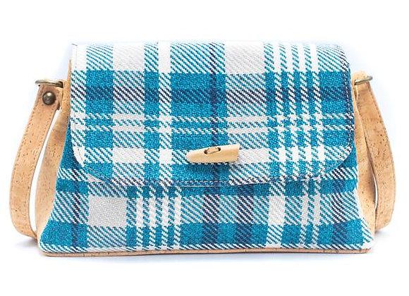 Cork and Blue Check Compact Handbag