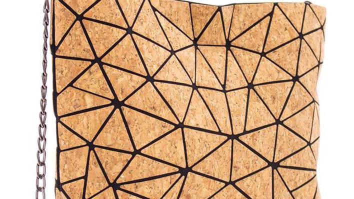 Natural Cork Geometric Triangle Crossbody Bag