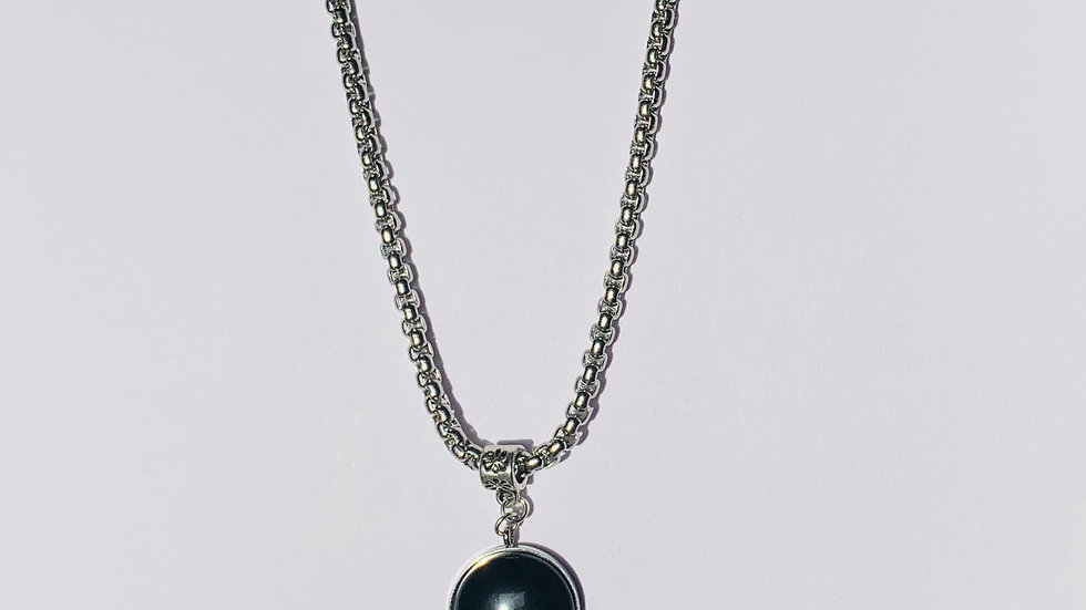 Stainless Steel Necklace with Jet Black Polaris Stone in Stainless Steel Setting