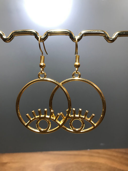 Gold Hoop with Gold Eye