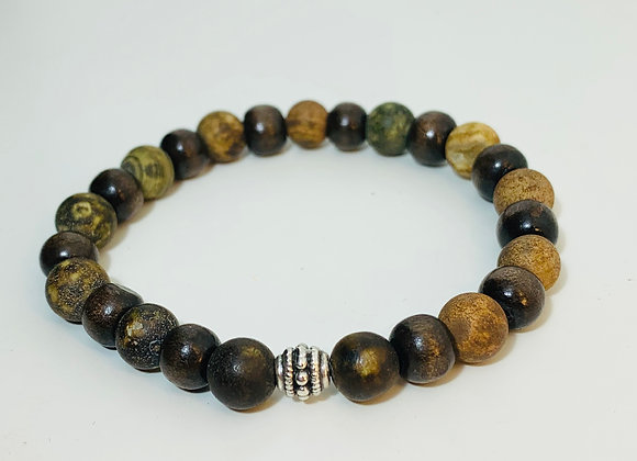 Two Colour Dark Wood Bead and Agate Stone Stretch Bracelet