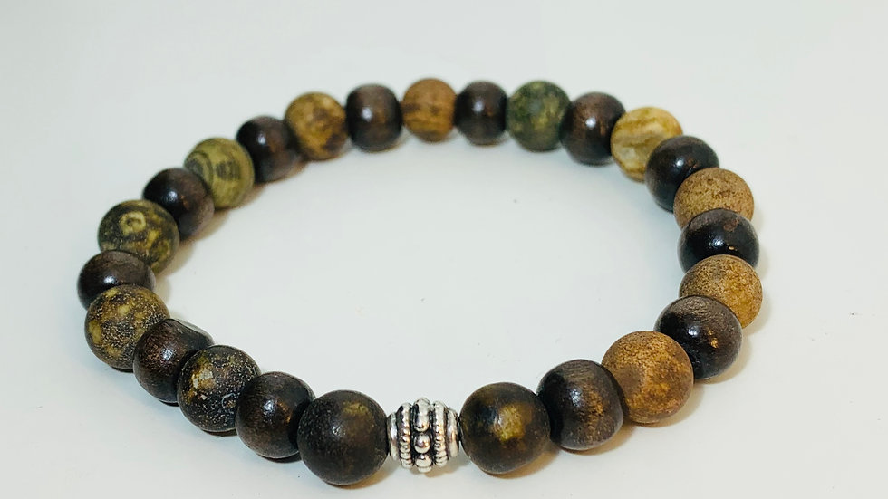 Two Colour Dark Wood and Agate Stone Stretch Bracelet