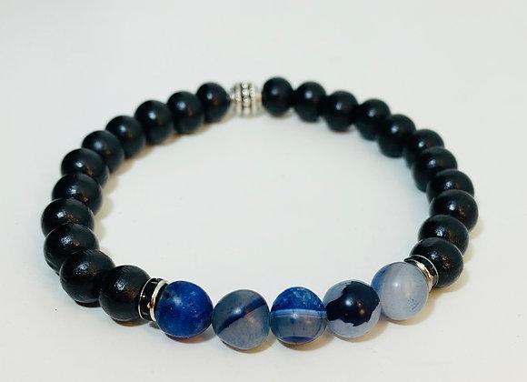 Stunning Black Obsidian and Blue Agate Stone Stretch Bracelet + Black Swarowski