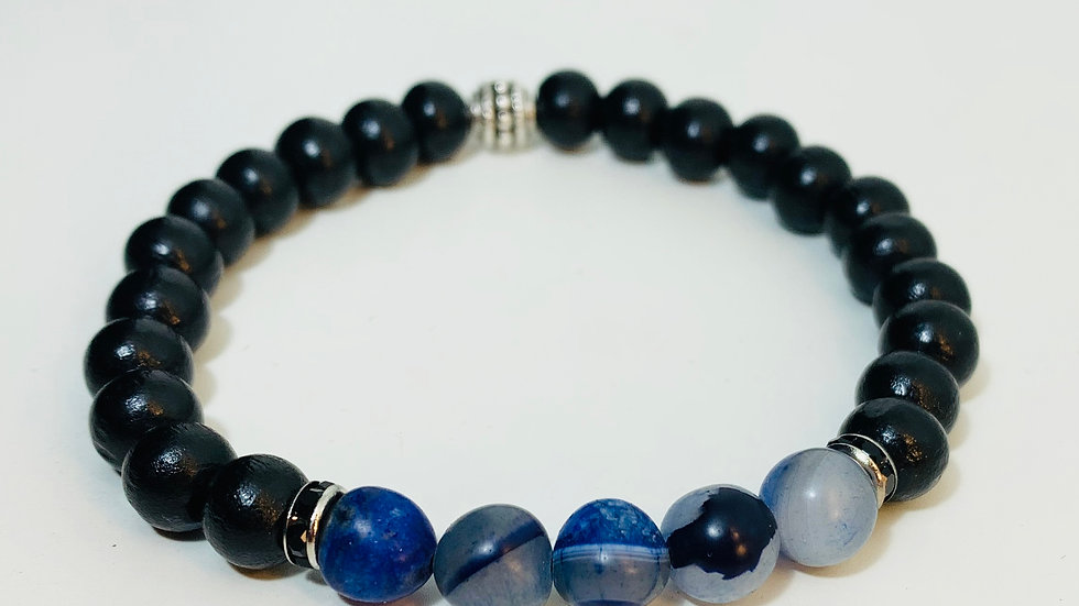 Black Obsidian and Blue Agate Stretch Bracelet