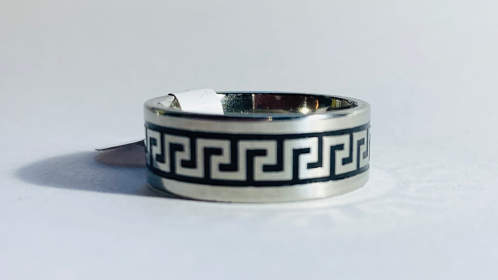 Stainless Steel Black and Silver Geometric Pattern Ring
