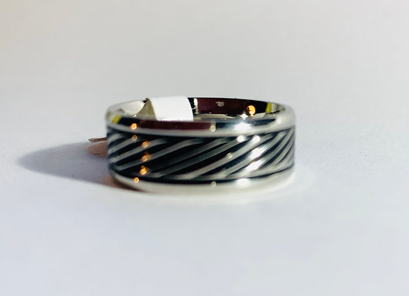 Stainless Steel Black and Silver Diagonal Pattern Ring
