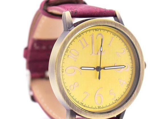 Unisex Vermelho Cork Watch