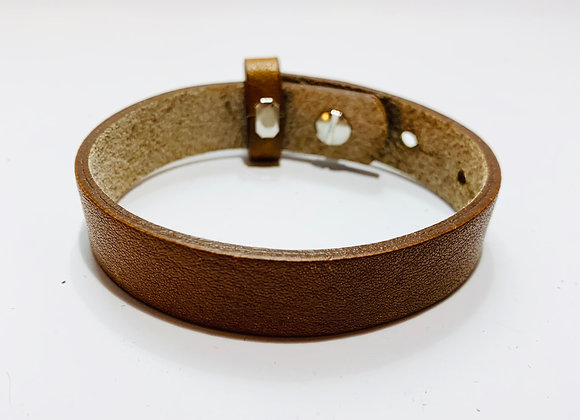 Adjustable Cognac Brown Leather Bracelet