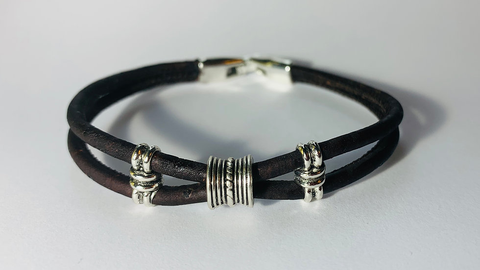Brown Natural Double Cork Bracelet with Silver Sliders with Strong Lock Clasp