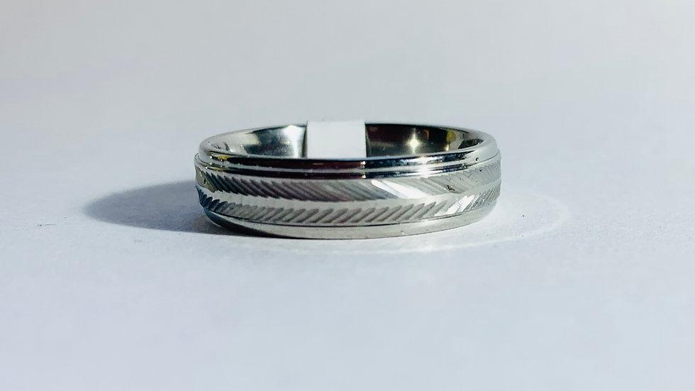 Stainless Steel Laser Cut Leaf Pattern Ring