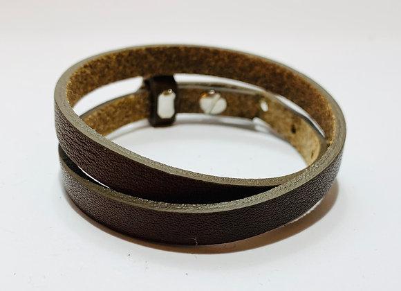 Adjustable Dark Brown Double Leather Bracelet