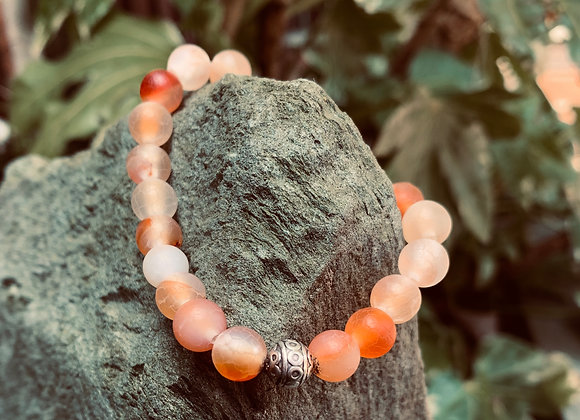 Red and Orange Agate Stone Stretch Bracelet with Silver Decorative Bead