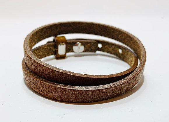 Adjustable Cognac Brown Double Leather Bracelet