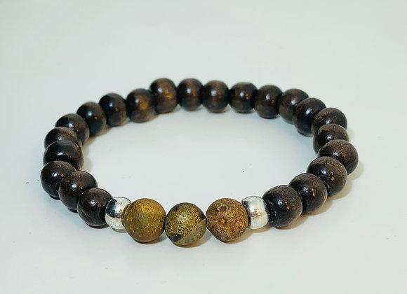 Dark Wood Bead and Matt Agate Stone Stretch Bracelet