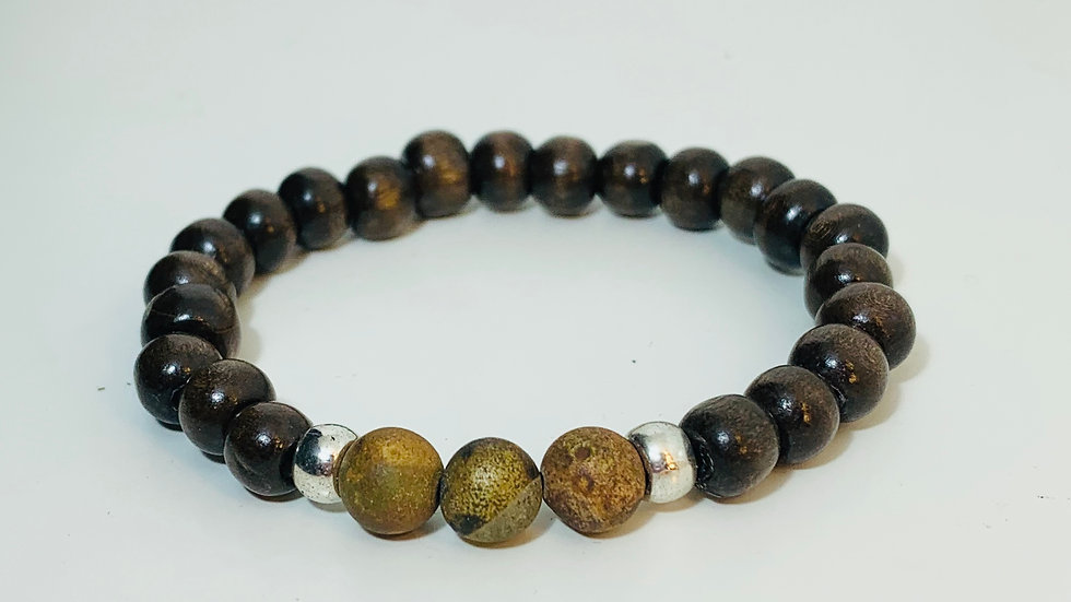 Dark Wood Bead and Matt Agate Stone Stretch Bracelet