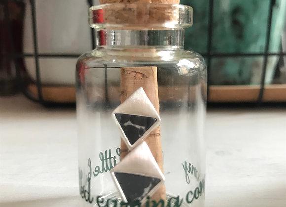Black Marble Stone and Silver diamond shape Studs