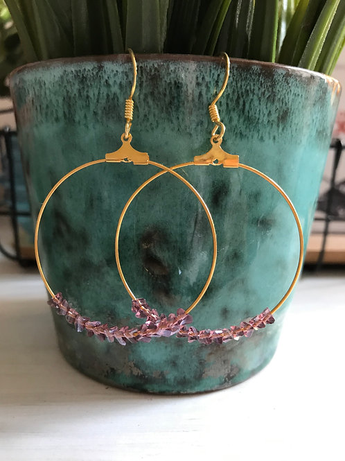 Gold Hoops with Glass beads