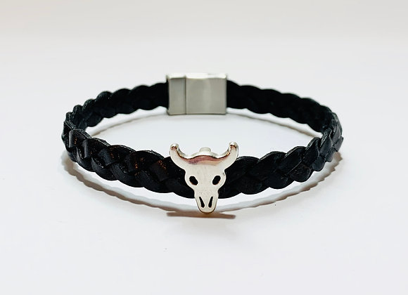 Vintage Black Braided Leather Bracelet with Bull Charm & Stainless Steel Clasp