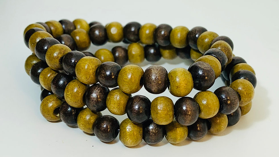 Natural 2 Colour Wood Stretch Triple Bracelet and Necklace