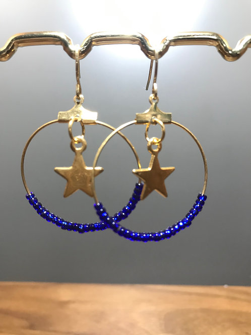 Gold Hoops with Blue Glass Beads and Star or Moon Charms