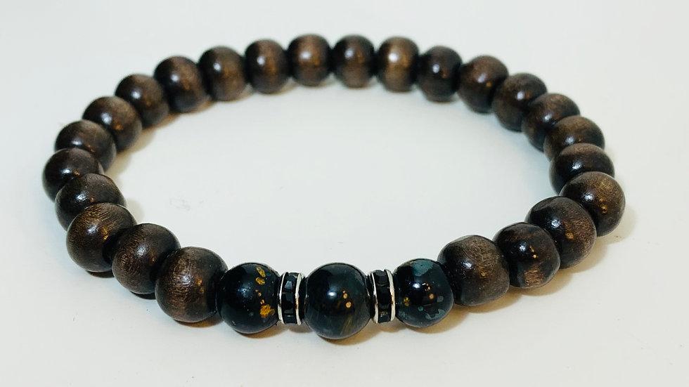 Dark Wood and Glass Bead Stretch Bracelet