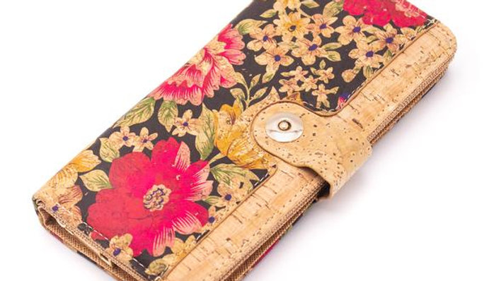 Floral Patterned Cork Purse