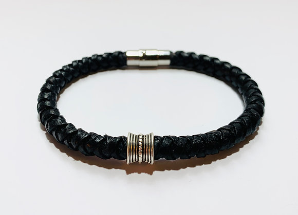 Vintage Black Braided Leather Bracelet with Slider +Stainless Steel Clasp