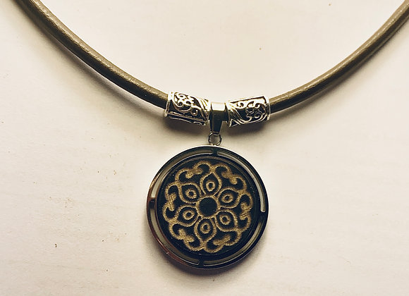 Leather 3mm Necklace with Wooden Mandala Pendant