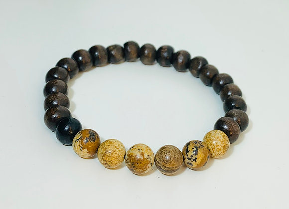 Dark Brown Natural Wood Bead and Agate Stone Stretch Bracelet
