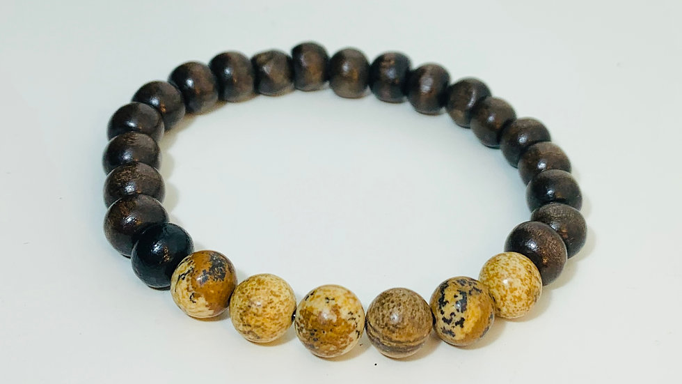 Dark Brown Wood and Agate Stone Stretch Bracelet