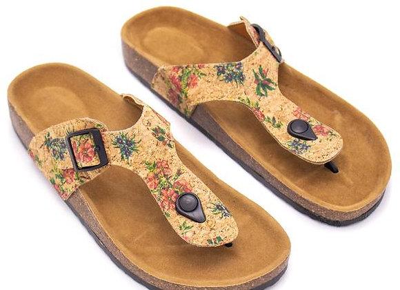 Cork Floral Patterned Sandal