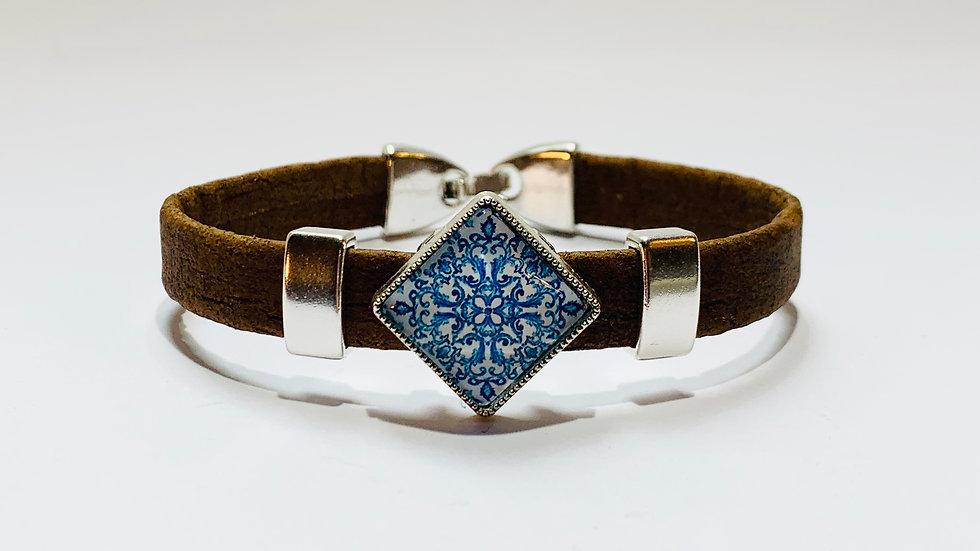 Brown Natural Cork Bracelet with Blue Portuguese Tile Slider