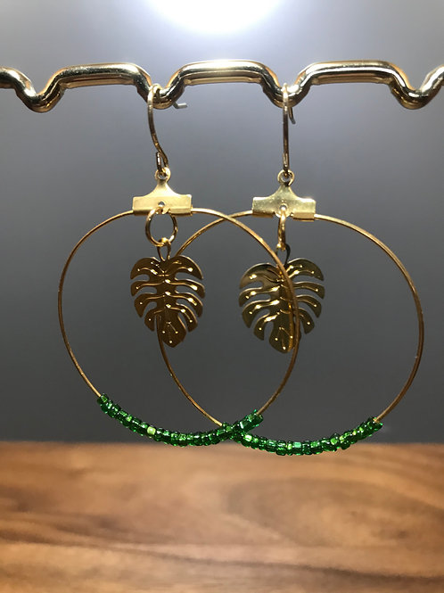 Gold Hoop with Green Glass Beads and Gold Palm Leaf Charms