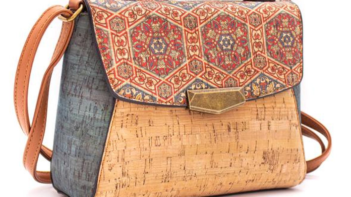 Natural Patterned and coloured Cork Crossbody