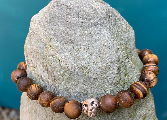 Tigers Eye Matt Stone Stretch Bracelet with Tiger Bead