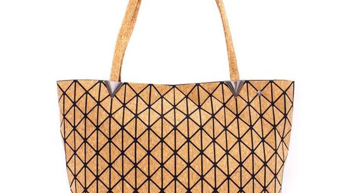 Natural Cork Geometric Tote Bag