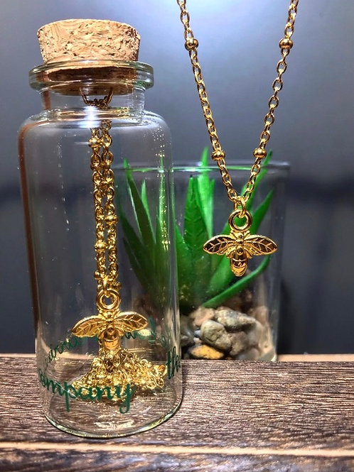 Gold Necklace with Bee charm