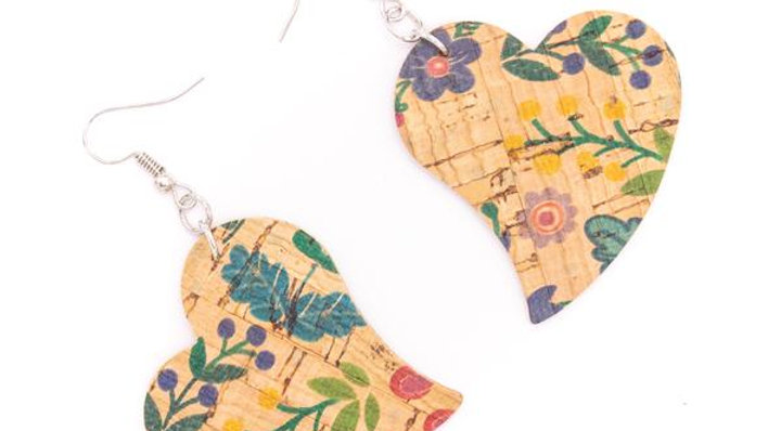 Cork Heart Earrings with flower design