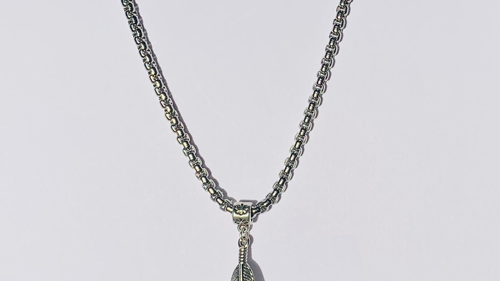 Stainless Steel Necklace with Silver Feather Pendant