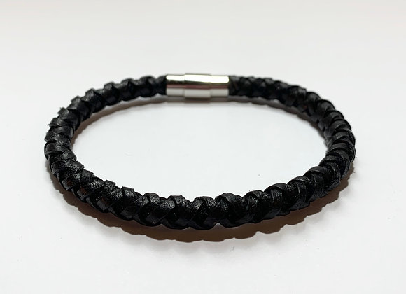 Vintage Black Braided Leather Bracelet with Stainless Steel Magnetic Clasp